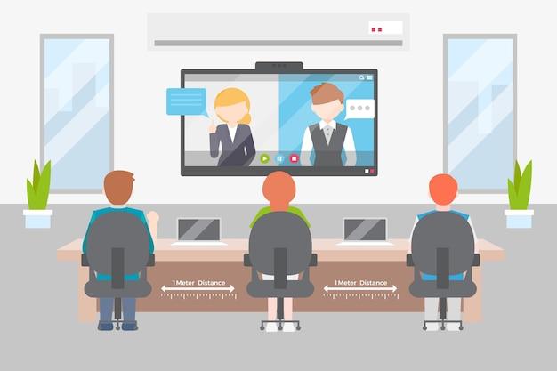 Distanciamiento social en un diseño de ilustración de reunión