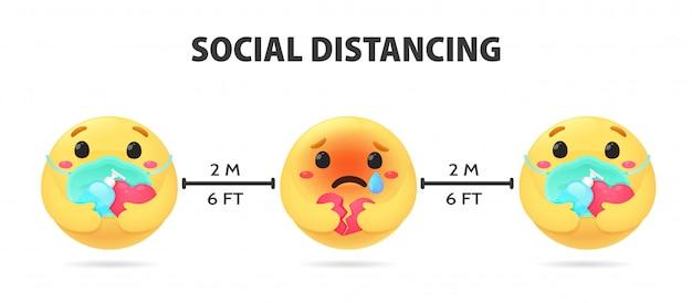 Distanciamiento social. emojis que muestran emociones ansiosas sostenga un gel de alcohol para lavarse las manos y usar una máscara