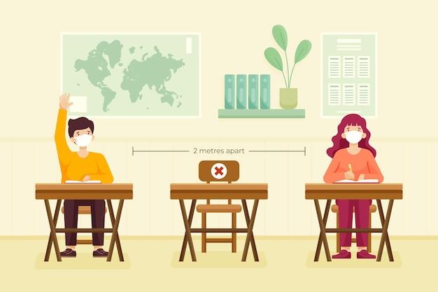 Distanciamiento social en la escuela