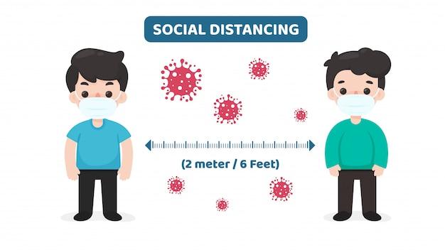 Distanciamiento social. espacio entre usted y los demás para prevenir la infección por el virus corona.