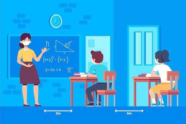 Distanciamiento social entre estudiantes en la escuela