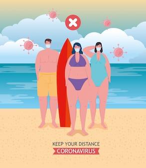 El distanciamiento social hecho mal en la playa, la gente mantiene la distancia incorrecta, nuevo concepto normal de playa de verano después de coronavirus o covid-19
