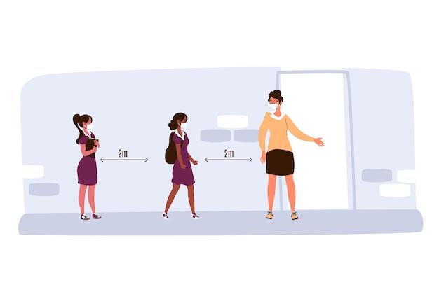 Distanciamiento social en la ilustración de la escuela.