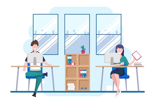 Distanciamiento social en una ilustración de reunión