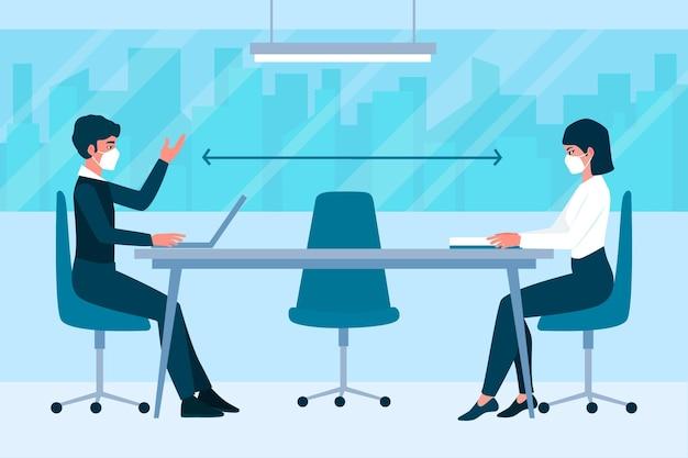 Distanciamiento social en el lobby de una reunión