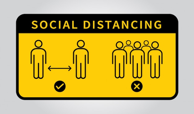 Distanciamiento social. mantenga la distancia de 1-2 metros. epidemia de coronovirus protectora.