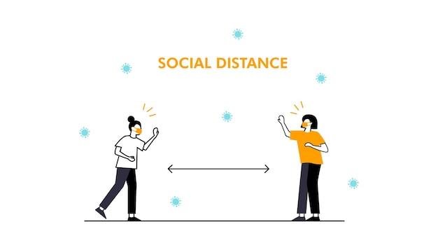 El distanciamiento social mantiene la distancia en las personas de la sociedad pública para protegerse del coronavirus covid19