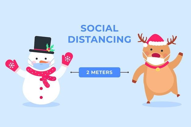 Distanciamiento social con muñeco de nieve y reno