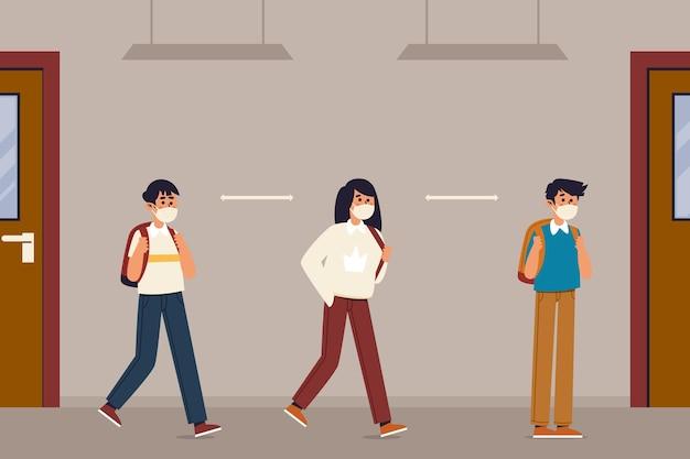 Distanciamiento social de los niños en la escuela
