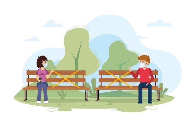 Distanciamiento social en un parque