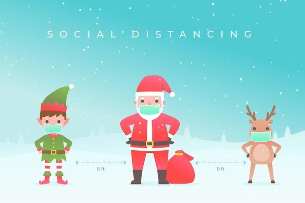 Distanciamiento social con personajes navideños