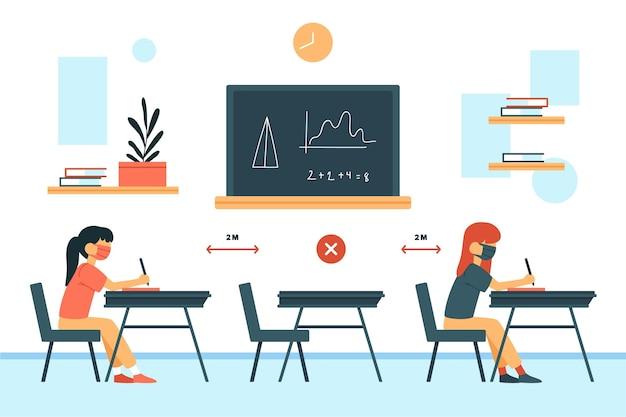 Distanciamiento social de las personas en la escuela