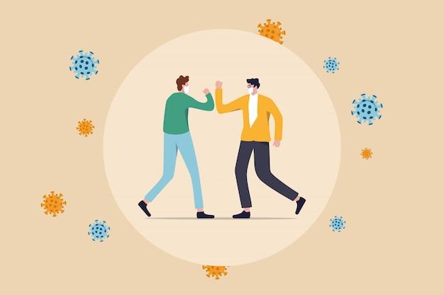 Distanciamiento social, las personas mantienen la distancia y evitan el contacto físico, el apretón de manos o el tacto de la mano para protegerse del concepto de propagación del coronavirus covid-19, la gente golpea el brazo o el codo con virus patógenos