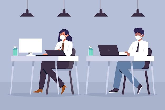 Distanciamiento social de personas en la oficina ilustrada.