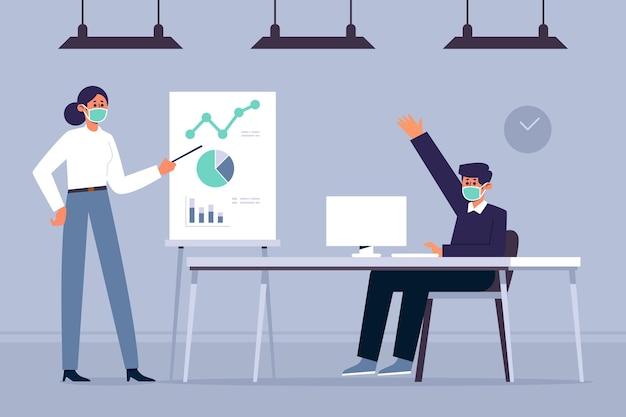 Distanciamiento social de personas en la oficina