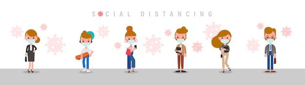 Distanciamiento social, las personas que se mantienen a distancia evitan el contacto cercano con los demás, usando una máscara médica protectora quirúrgica para prevenir el virus covid-19. ilustración de dibujos animados de estilo de diseño plano.