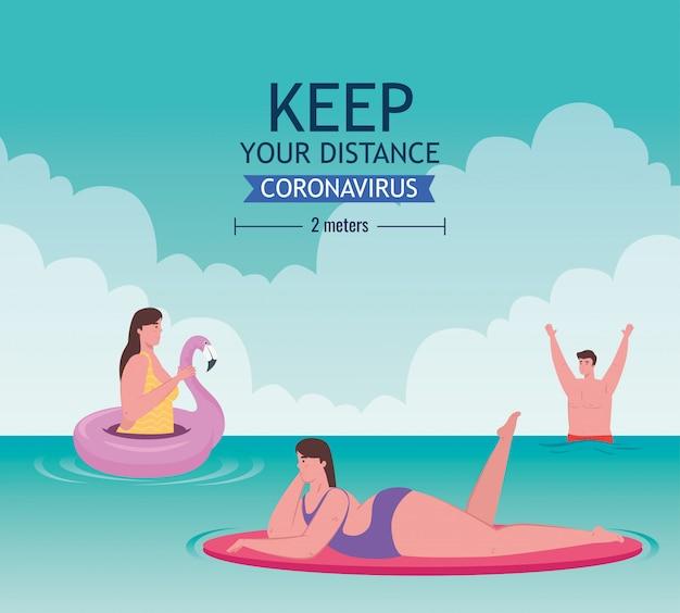 Distanciamiento social en la playa, los jóvenes mantienen la distancia a dos metros, nuevo concepto normal de playa de verano después de coronavirus o covid-19