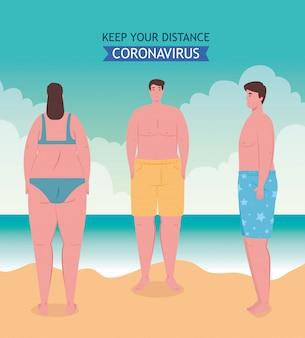 Distanciamiento social en la playa, los jóvenes mantienen distancia, nuevo concepto normal de playa de verano después de coronavirus o covid-19