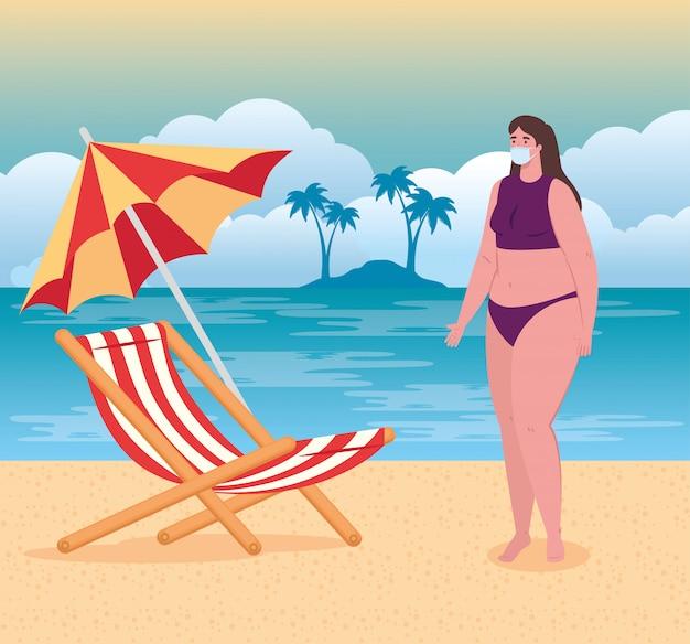 Distanciamiento social en la playa, mujer con máscara médica, distancia, nuevo concepto de playa normal de verano después de coronavirus o covid-19