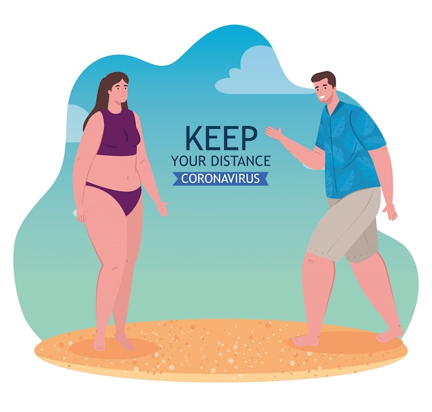 Distanciamiento social en la playa, pareja a distancia, nuevo concepto normal de playa de verano después de coronavirus o covid-19