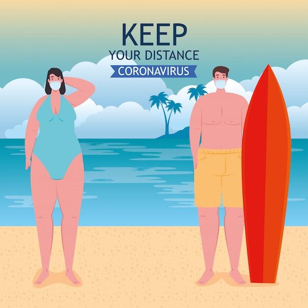 Distanciamiento social en la playa, la pareja mantiene la distancia con una máscara médica, un nuevo concepto de playa de verano normal después del coronavirus o el diseño de ilustración vectorial covid-19