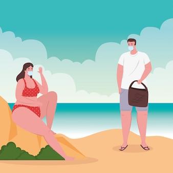 Distanciamiento social en la playa, pareja con máscara médica, distancia, nuevo concepto de playa normal de verano después de coronavirus o covid-19