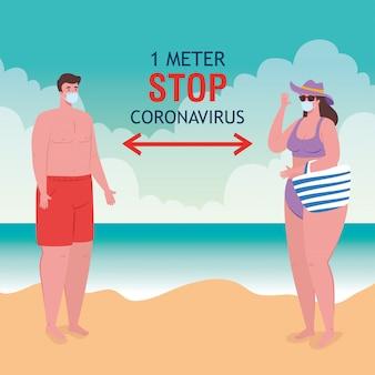 El distanciamiento social en la playa, la pareja con máscara médica mantiene la distancia un metro, el nuevo concepto de playa normal de verano después del coronavirus o el diseño de ilustración vectorial covid-19