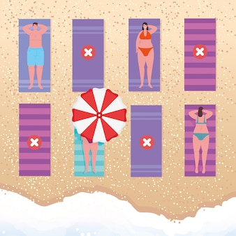 El distanciamiento social en la playa, las personas mantienen la distancia para tomar el sol o broncearse en la arena, el nuevo concepto de playa normal de verano después del coronavirus o el diseño de ilustración vectorial covid-19