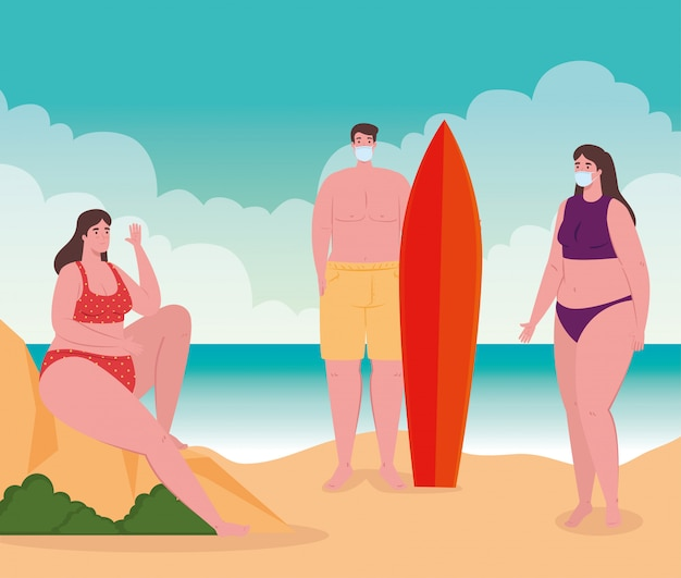 El distanciamiento social en la playa, las personas con máscara médica mantienen la distancia, el nuevo concepto de playa normal de verano después del coronavirus o el diseño de ilustración vectorial covid-19