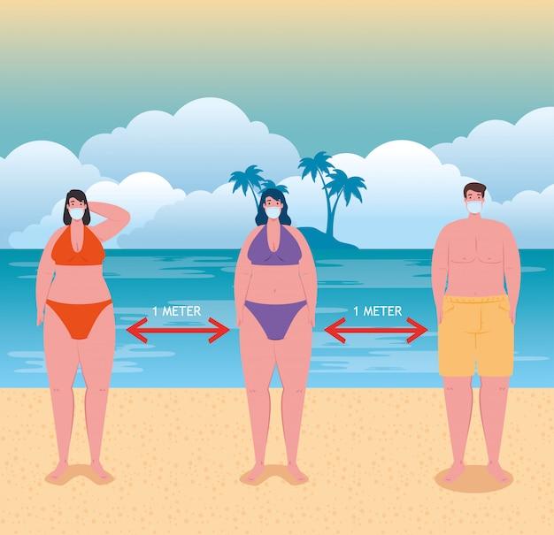El distanciamiento social en la playa, las personas que usan una máscara médica mantienen la distancia un metro, el nuevo concepto de playa de verano normal después del coronavirus o el diseño de ilustración vectorial covid-19