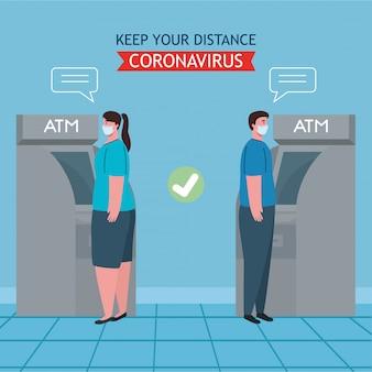 El distanciamiento social y la prevención del coronavirus covid-19, mantienen una distancia segura de los demás cuando se usa el cajero automático
