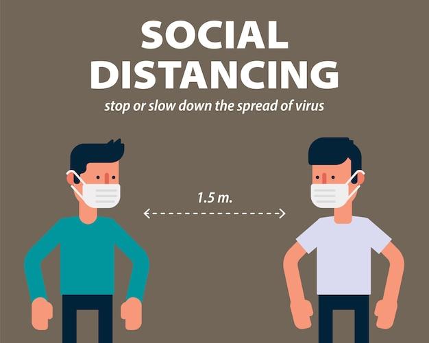 Distanciamiento social, protección contra covid-19, diseño plano de ilustración de coronavirus.