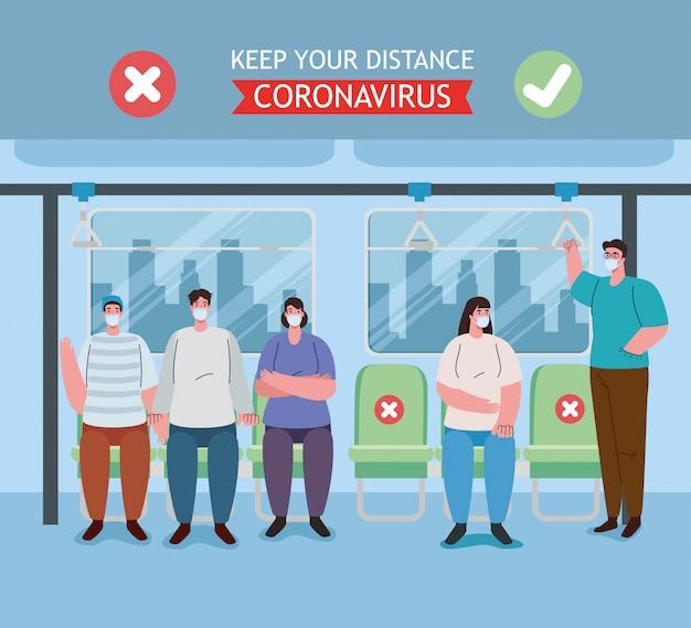 Distanciamiento social realizado de manera incorrecta y correcta, espacio de sillas de distanciamiento social dentro del autobús, personas con máscara médica