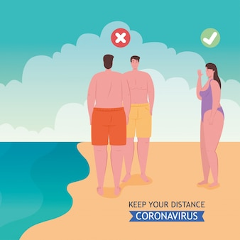 El distanciamiento social realizado de manera incorrecta y correcta en la playa, la gente mantiene la distancia, el nuevo concepto normal de playa de verano después del coronavirus o covid-19