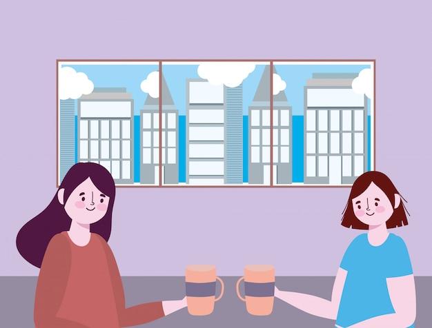 Distanciamiento social restaurante o cafetería, dos mujeres jóvenes con taza de café