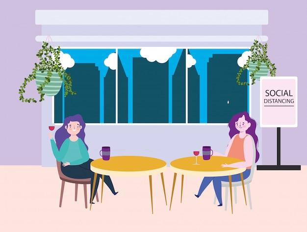 Distanciamiento social restaurante o cafetería, dos mujeres solteras con tazas de café mantienen distancia en las mesas