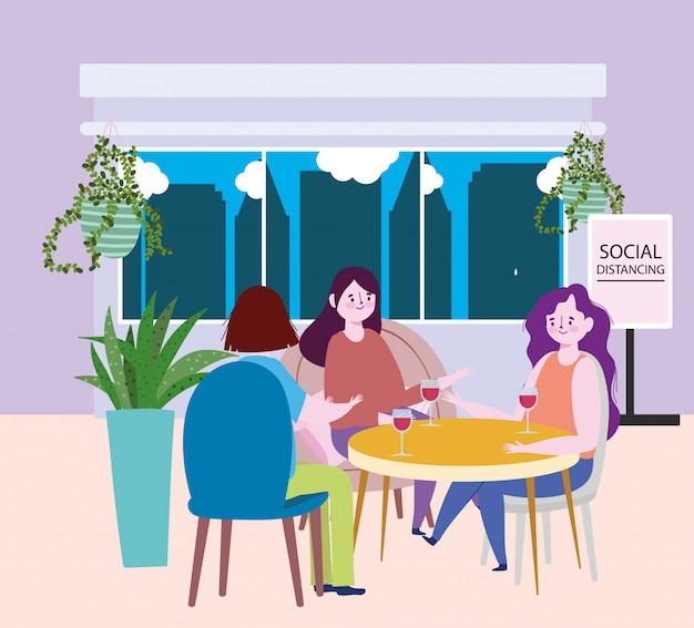 Distanciamiento social restaurante o cafetería, grupo de mujeres con copa de vino en la mesa