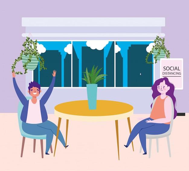Distanciamiento social restaurante o cafetería, hombre y mujer sentados a la mesa con plantas mantienen distancia