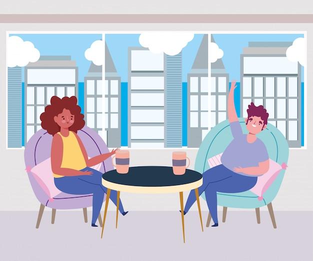 Distanciamiento social restaurante o cafetería, hombre y mujer con taza de café mantienen distancia