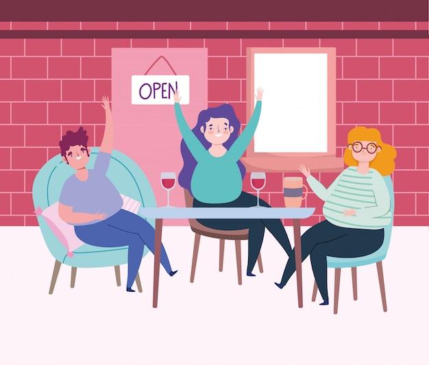 Distanciamiento social restaurante o cafetería, hombres y mujeres bebiendo mantienen distancia