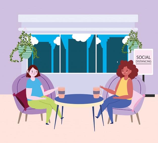 Distanciamiento social restaurante o cafetería, jóvenes mujeres bebiendo café a distancia