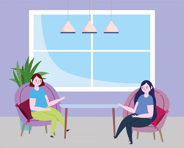 Distanciamiento social restaurante o cafetería, mujeres hablando sentados en sillas