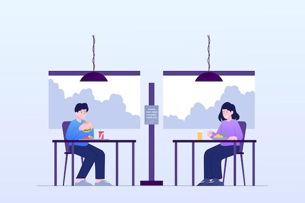Distanciamiento social en un restaurante