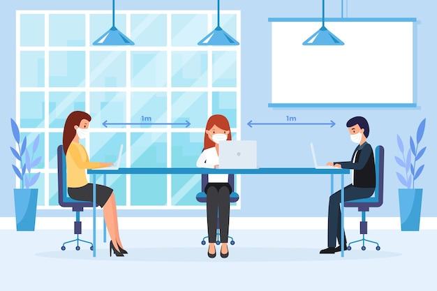 Distanciamiento social en una reunión de negocios