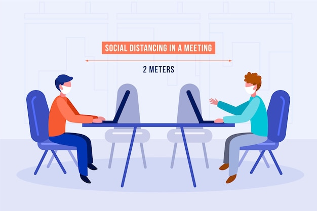 Distanciamiento social en una reunión