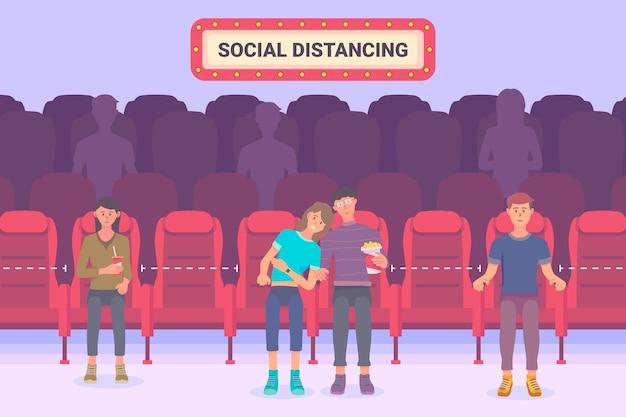 Distanciamiento social en salas de cine
