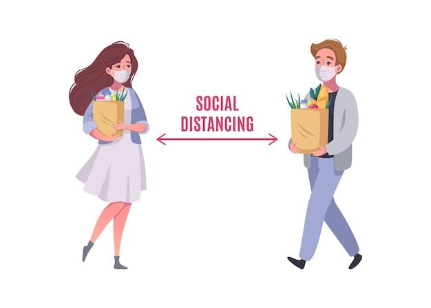 Distanciamiento social en el supermercado con dos clientes en la ilustración de dibujos animados de máscaras