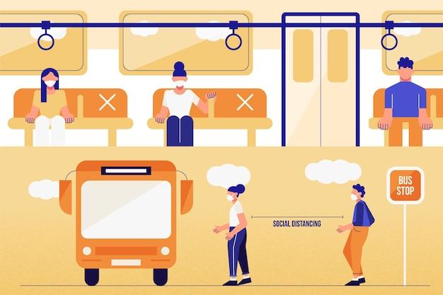 Distanciamiento social en el transporte público