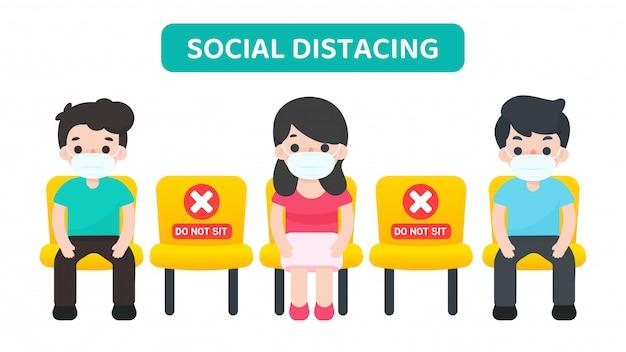 Distanciamiento social. vector de dibujos animados personas sentadas en una silla espaciadas contra otras, evitando la propagación del virus corona.
