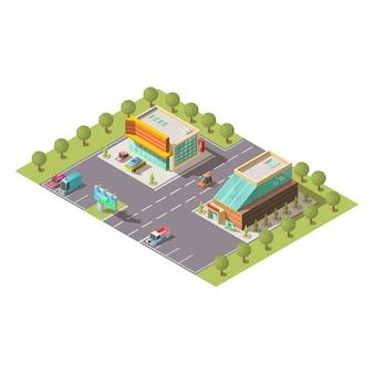 Distribuidor de automóviles showroom edificios vector isométrico